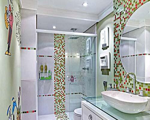 Adesivo para Banheiro  Parede e Papel  Decoração -> Banheiro Apartamento Decorado Adesivo