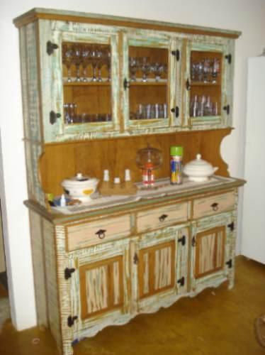 Armário Rústico para Cozinha Madeira e Modulados Decoraç u00e3o