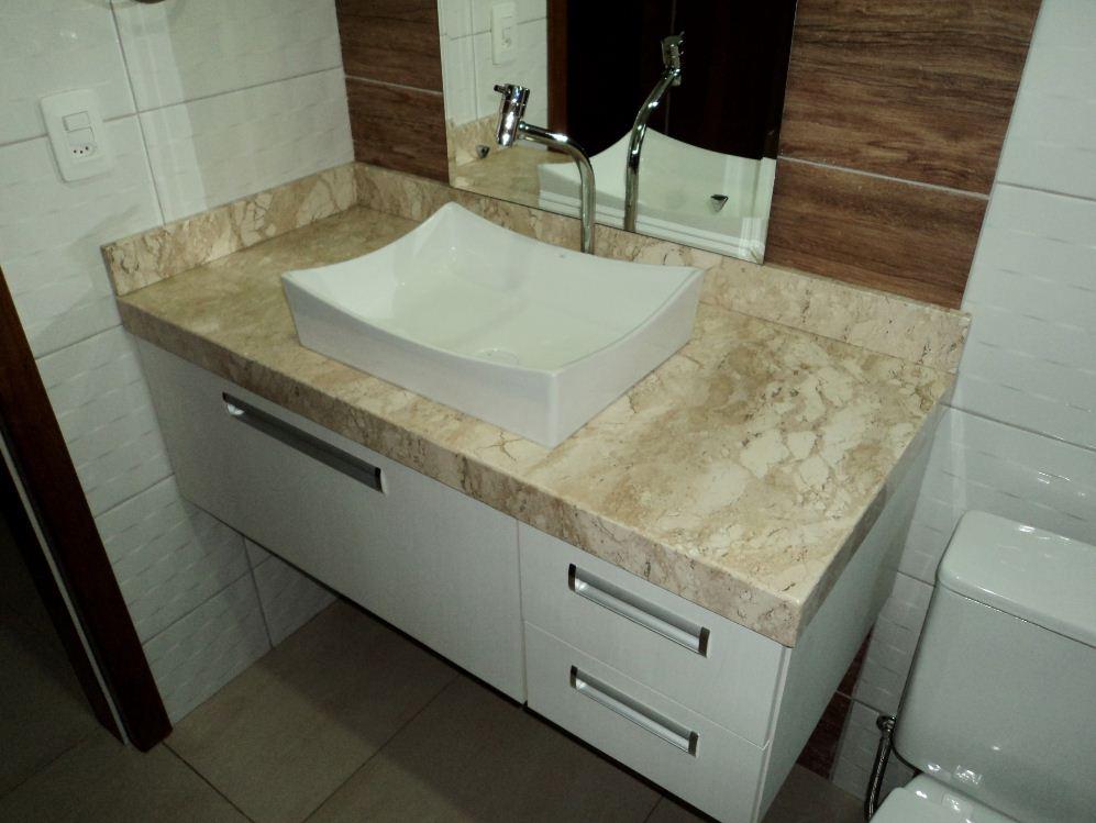 Balcão de Mármore  Pedra e Granito  Decoração -> Pia Banheiro Bege Bahia