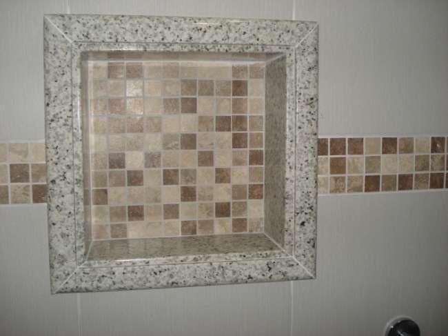Banheiro com Nicho  Decoração e Revestimento  Decoração -> Nicho Alvenaria Banheiro