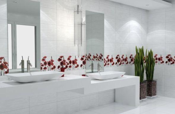 Banheiro Decorado com Azulejo  Pastilhas e Faixas  Decoração # Banheiro Decorado Azulejo