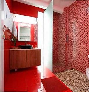 Banheiro decorado com pastilhas vermelhas e pretas pisos for Bathroom ideas red and black