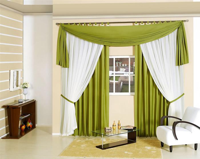 Cortina verde para sala modelo e tecido decora o for Cortinas bonitas para sala