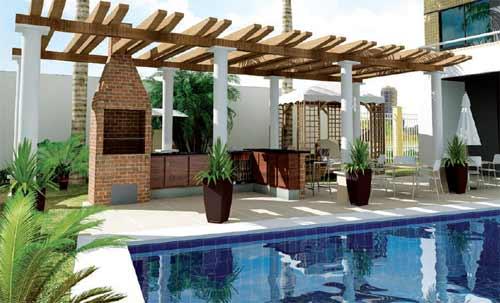 Jardim com Churrasqueira  Ambientes e Modernos  Decoração