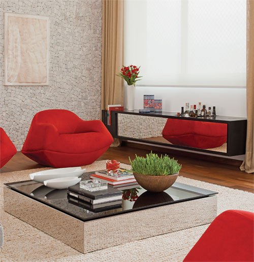 Mesa de centro para sala espelhada madeira e vidro for Como decorar mesa de centro