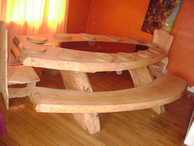 Mesa r stica cadeira e cozinha decora o - Mesas de noche rusticas ...