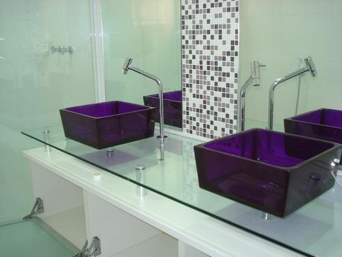 Pia de Vidro  Cozinha e Banheiro  Decoração -> Cuba Para Pia De Banheiro De Vidro