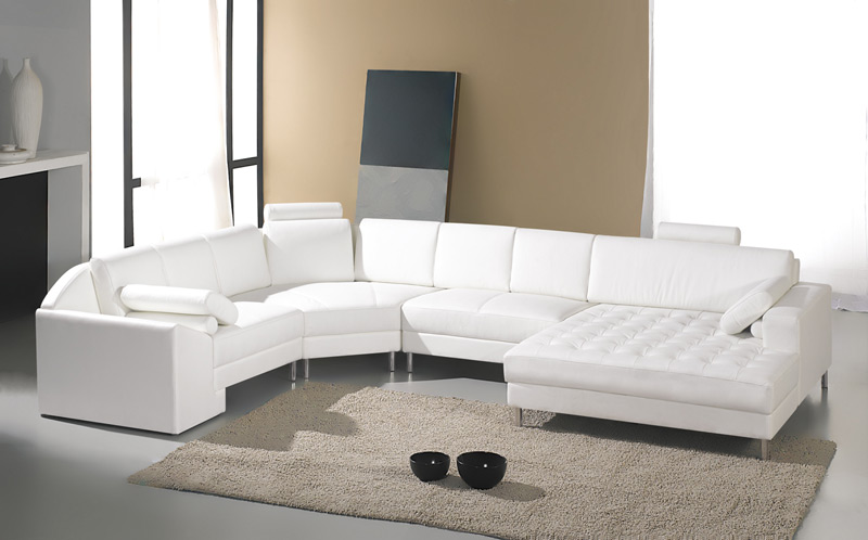 decoracao sofa branco : decoracao sofa branco:White Leather Sectional Sofa