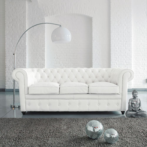 decoracao sofa branco:White Leather Chesterfield Sofa Living Room