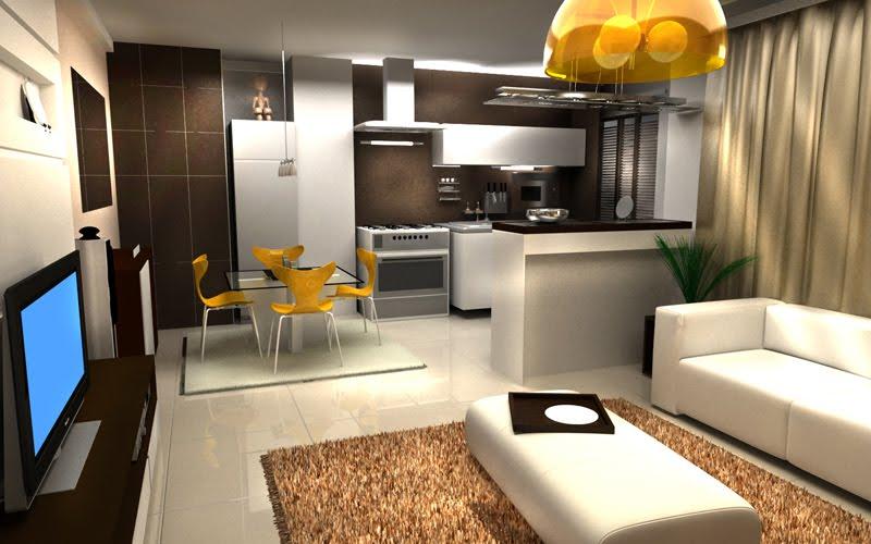 decoracao de sala e cozinha juntas simples:Sala com Cozinha – Móveis e Decorar