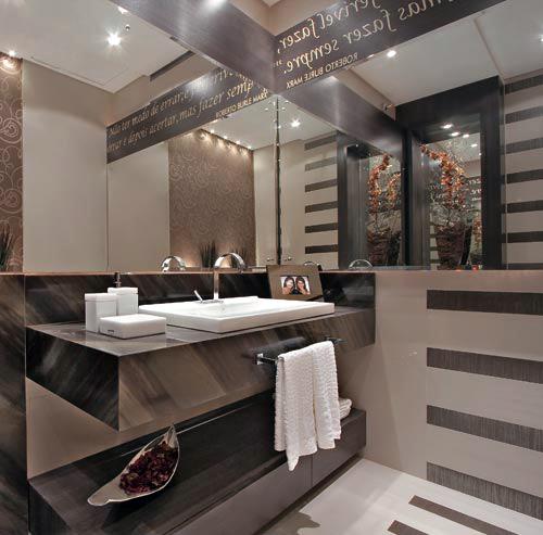 Espelho Grande para Banheiro  Decorado e Modelos  Decoração -> Banheiro Decorado Com Espelho Grande